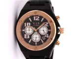 VIP TIME ITALY Unisex Chronograph UHR/ Schwarz / Gold